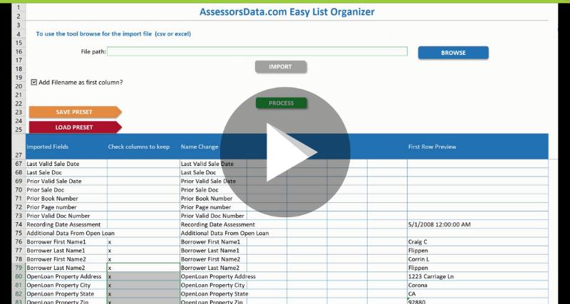AssessorsData Easy List Organizer